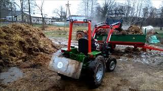 Załadunek obornika 2018 traktorek Sam z ładowaczem