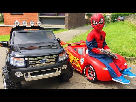 Thumbnail: Spider-Man Conduit Voitures Cars Lightning McQueen et Ford Ranger