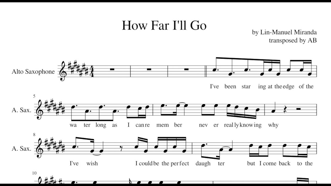 How Far Ill Go Moana Alto Sax Sheet Music Pdf Cover