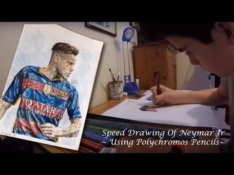 Speed Drawing of Neymar Jr ~ Using Polychromos Colour Pencils