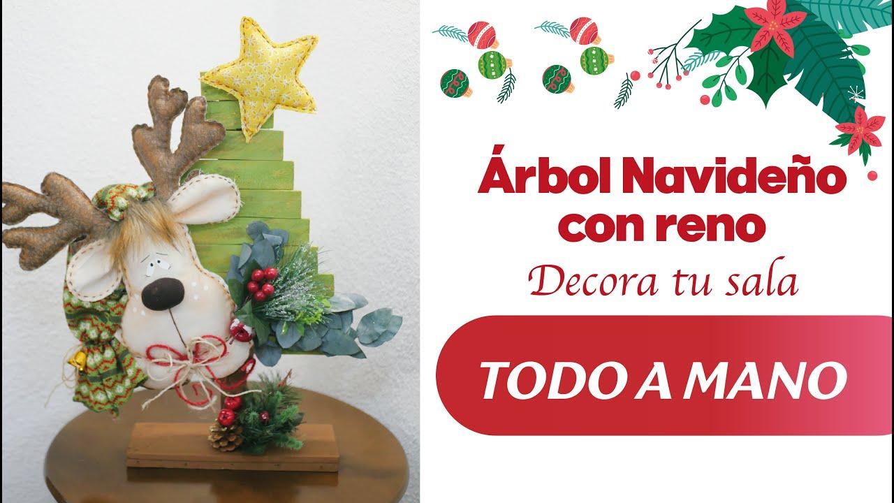 Árbol Navideño con Reno / Decora tu sala (TODO A MANO)