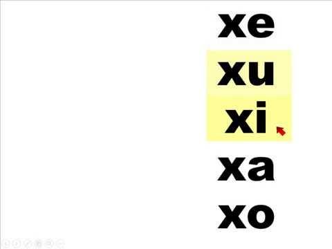 Silabas xa, xe, xi, xo, xu