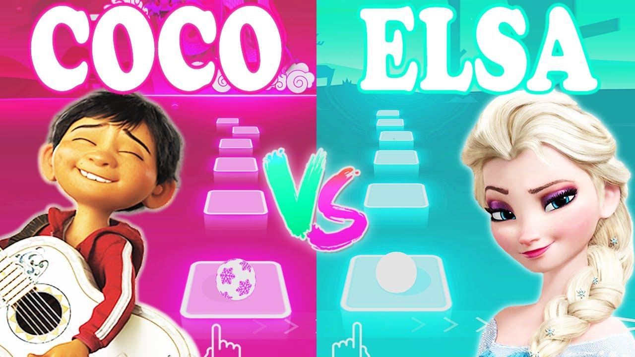 Coco Un Poco Loco Vs Elsa Into The Unknown - Tiles Hop EDM Rush!