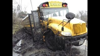 Extreme driving Bus Off Road Snow and Stuck in Mud