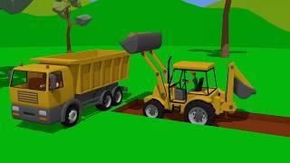 #Excavators, Mini Excavators and Trucks in ACTION | set of animations for children | Bajki Koparki
