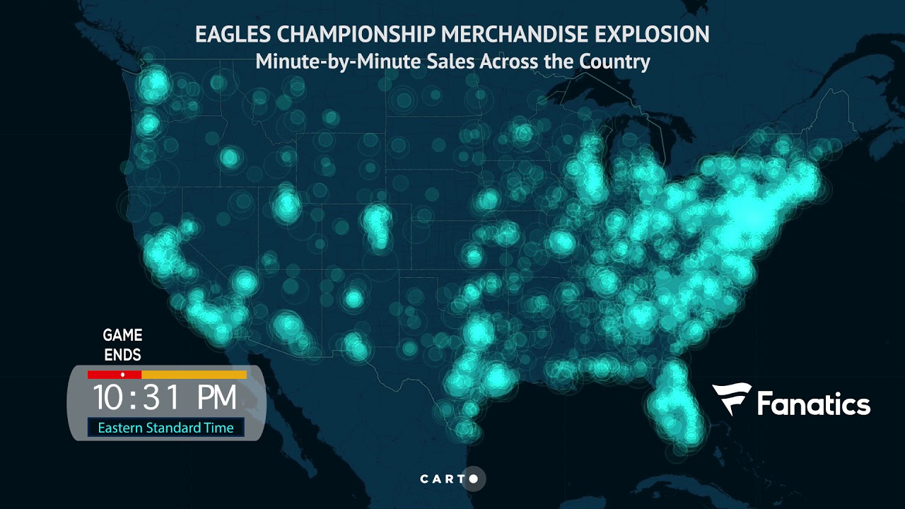 check out aab43 8141b Watch a heat map of the Philadelphia Eagles Super Bowl LII champs gear  explosion.