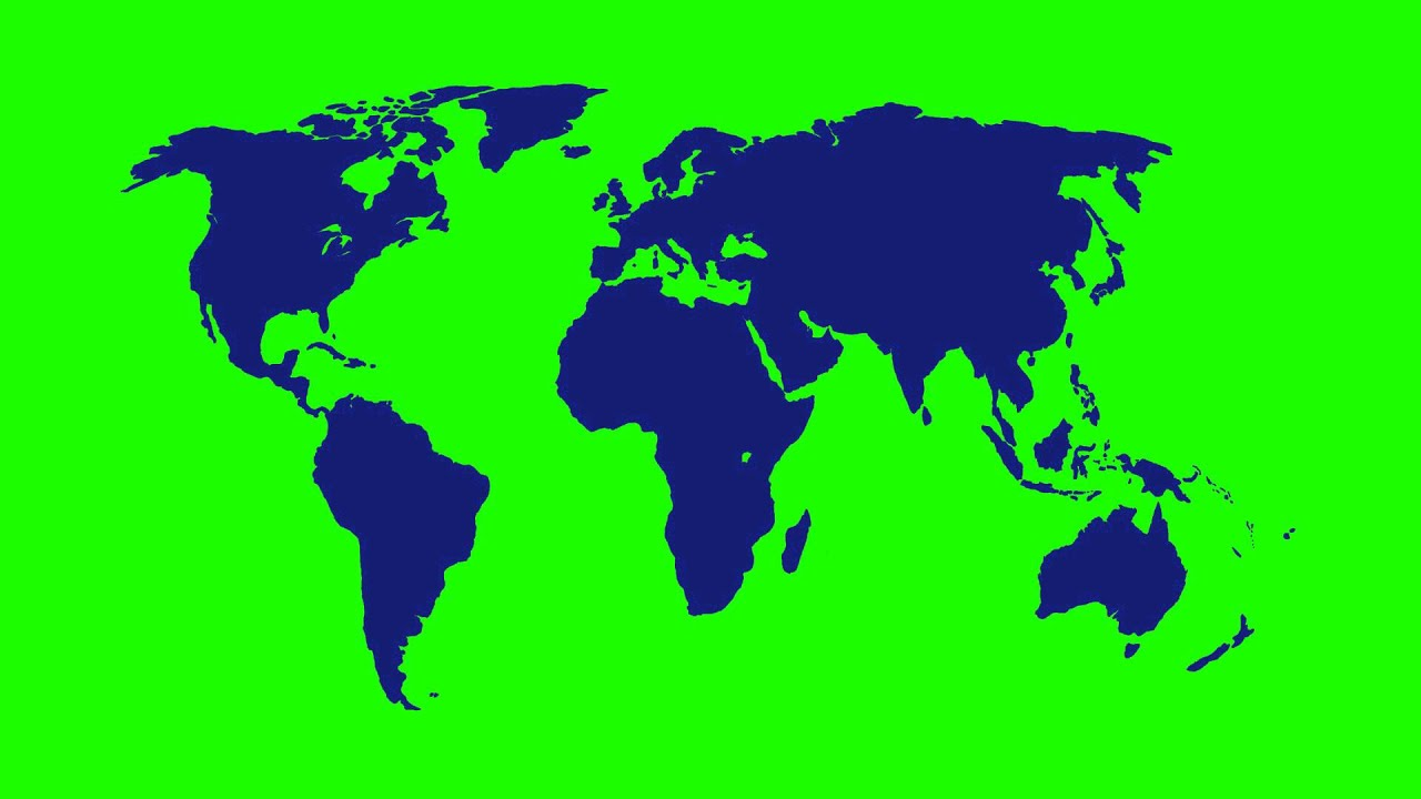 Blue World Map In Green Screen Free Stock Footage YouTube - Green and blue world map
