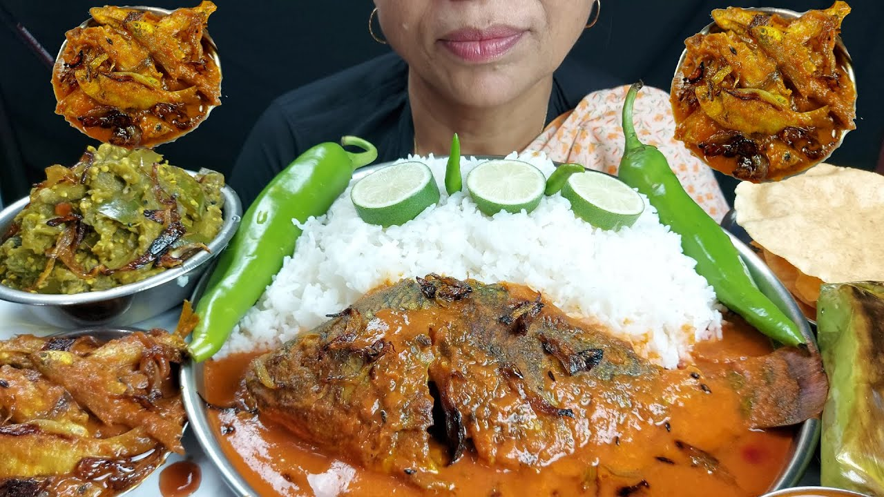 Asmr small Fish Paturi and Sauce Fish Curry with Rice Eating Show