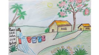 How to draw save  water save Nature save with doms pencil colour beautiful  save water scenery