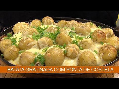 BATATA GRATINADA COM PONTA DE COSTELA