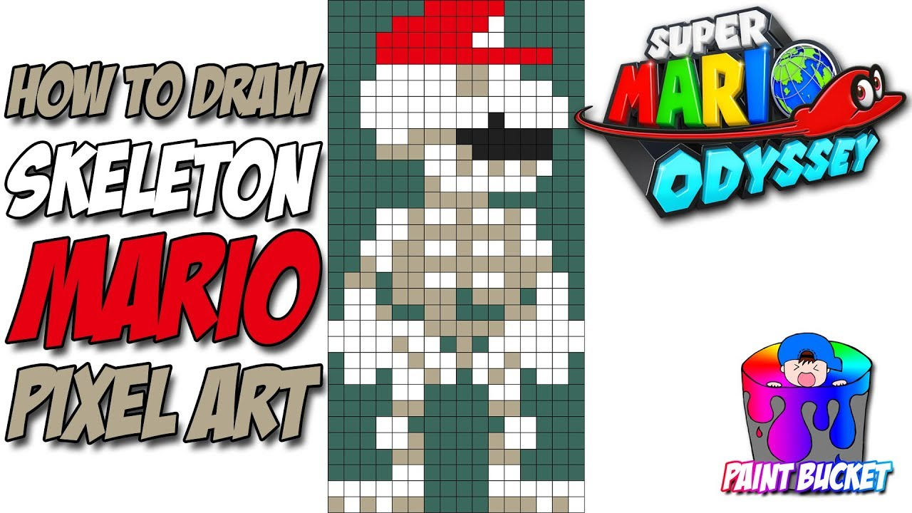 How To Draw Super Mario Odyssey Skeleton Mario Suit Nintendo 8 Bit Mario Pixel Art Drawing