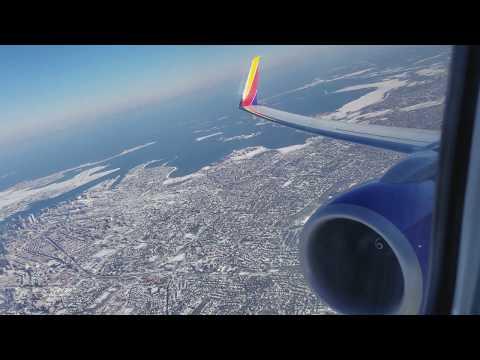 Southwest 737-800 Snowy Takeoff from Boston in 4K