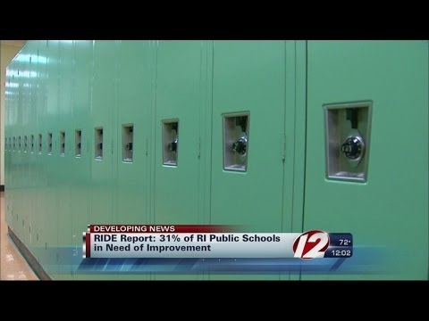The Rhode Island Department of Education shows 31% of schools need improvement plans