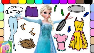 Dress Up Disney Elsa Barbie As A Chef And Learn Names Of Colors And Clothes