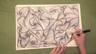 Line Illusions Speed Drawing (Original video, Pursuit Curves, Zen Doodle, YouTube)