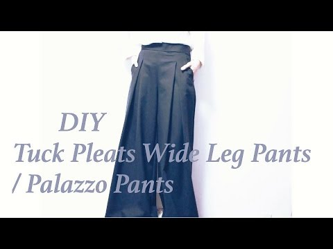 DIY Tuck Pleats Wide Leg Pants / Palazzo Pantsㅣmadebyaya - YouTube