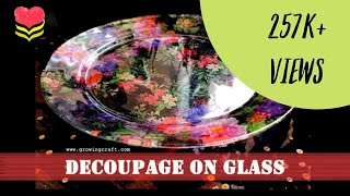 192. Decoupage on glass plate - decoupage for beginners-reverse decoupage - Handmade gifts and decor