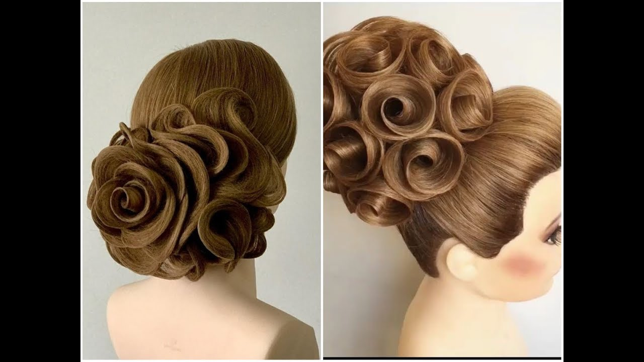 beautiful hair style rose for back puf design