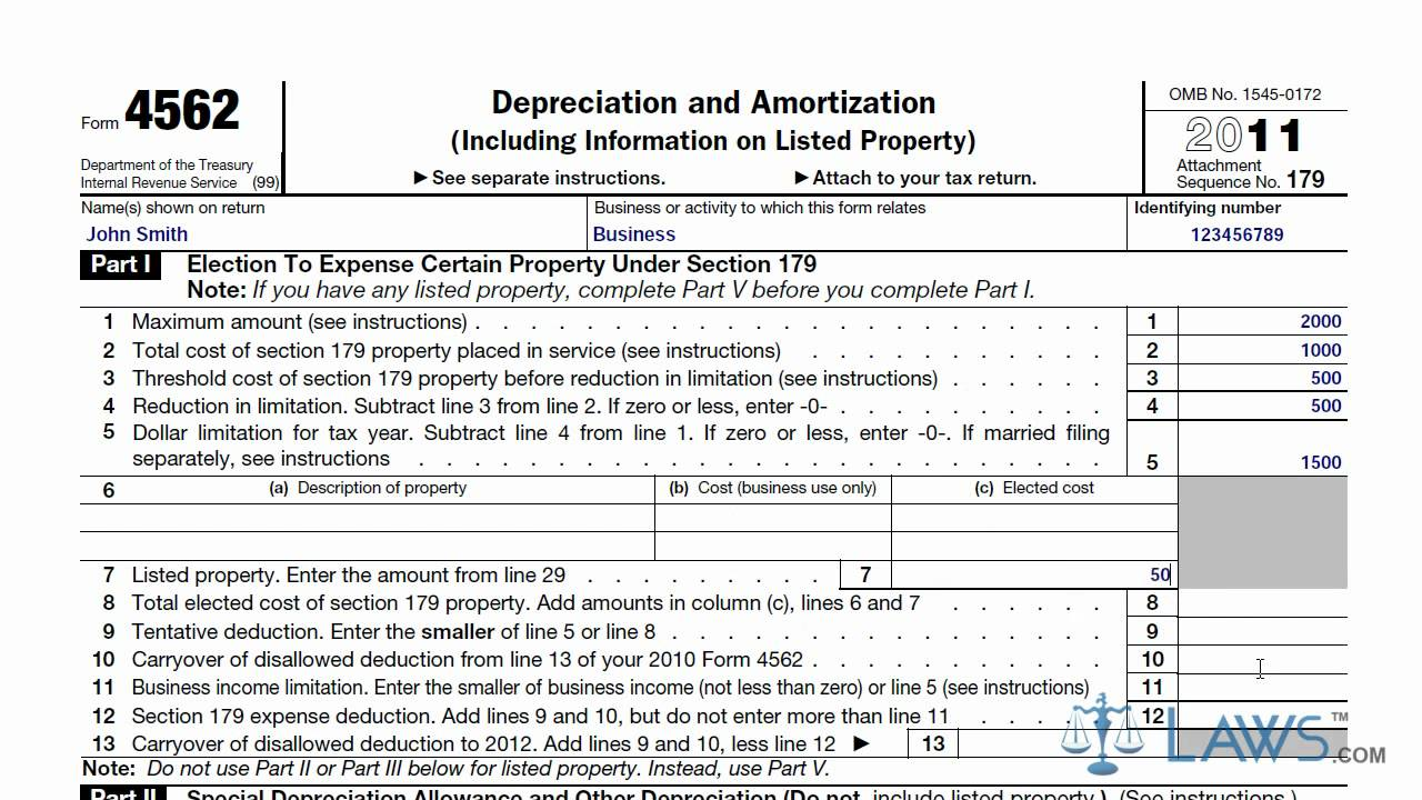 Learn How to Fill the Form 4562 Depreciation and Amortization - YouTube