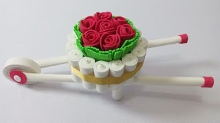 Como fazer carrinho de mão estilo provençal com flores de EVA