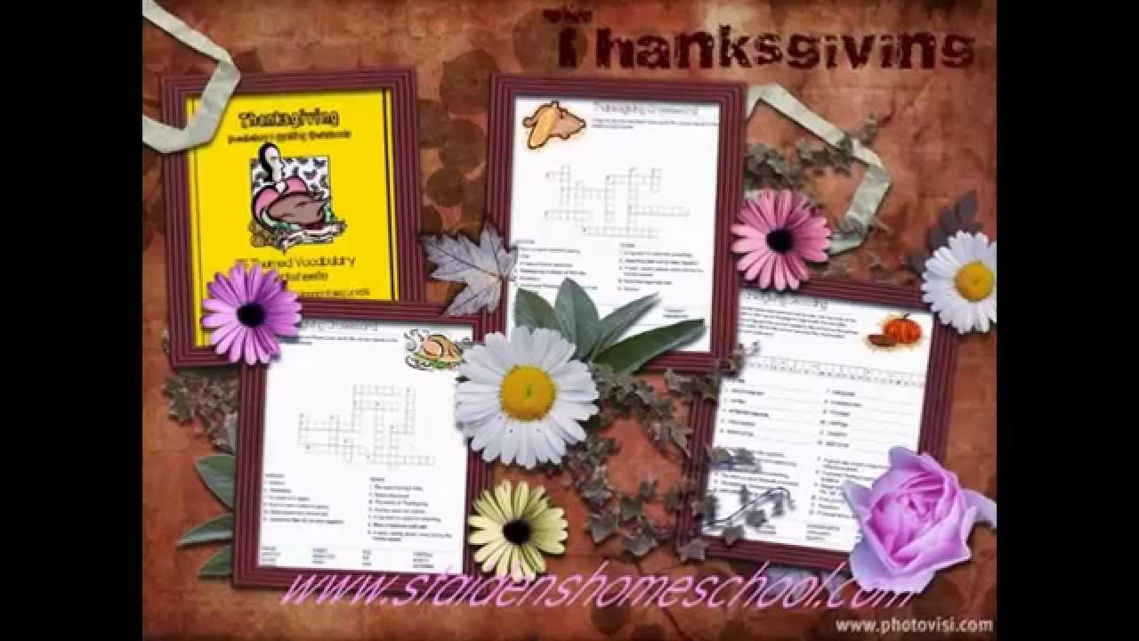 75 Thanksgivingthemed Vocabulary Worksheets And Puzzles  Youtube