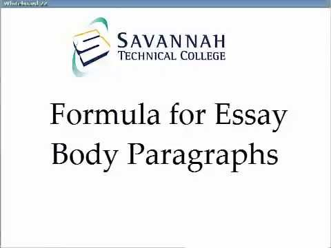 Body Paragraphs A Simple Formula for Academic Essays - YouTube