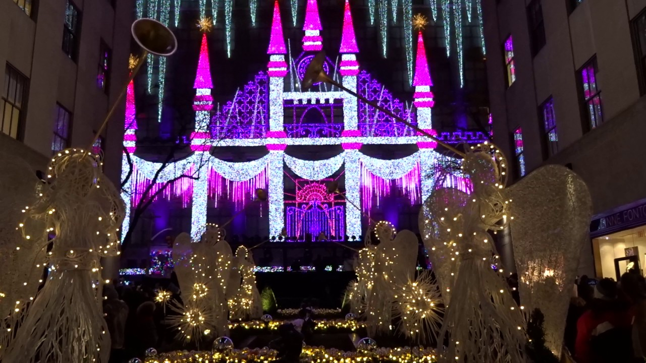 2016 Saks Fifth Avenue Holiday Light Show and fireworks   YouTube