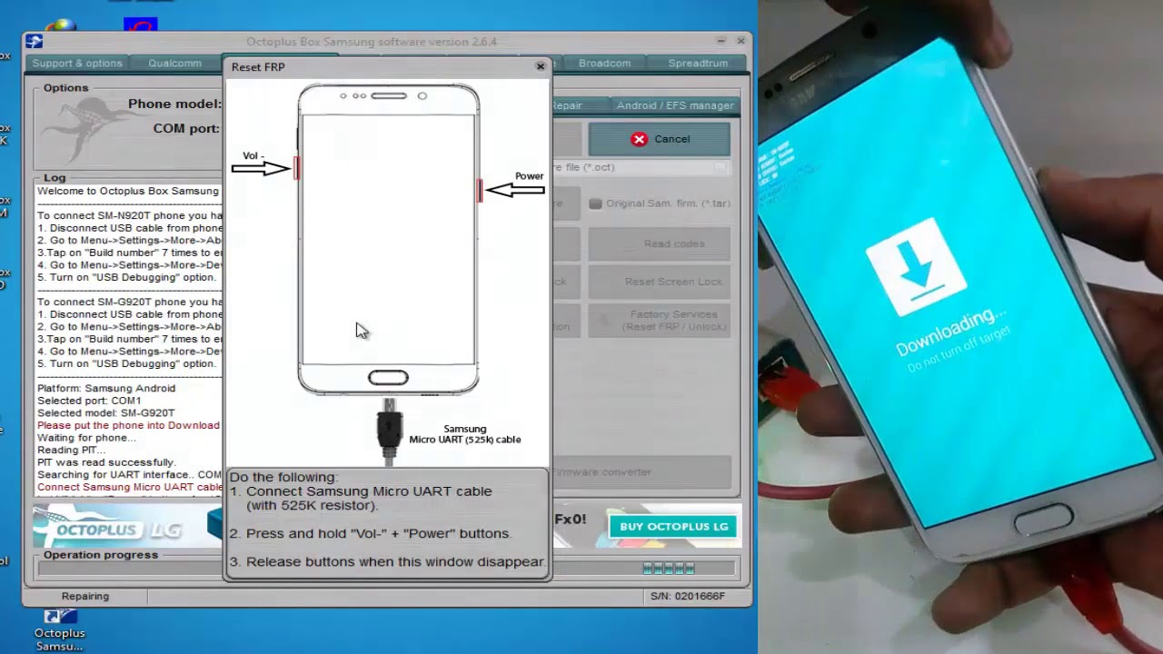How To Remove FRP Samsung S6 G920T (Nougat 7 0) With Octopus UART Cable