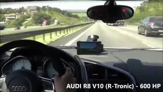 Course sur une autoroute (conduite irresponsable) entre une Audi R8 et deux motos