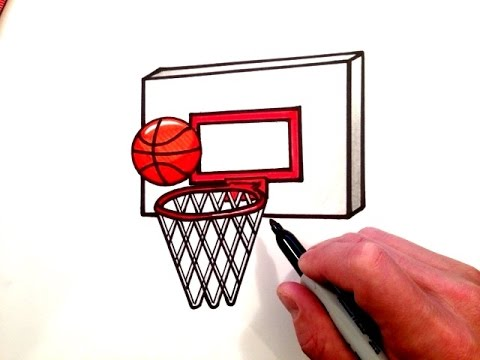 How To Draw A Basketball And Hoop Youtube
