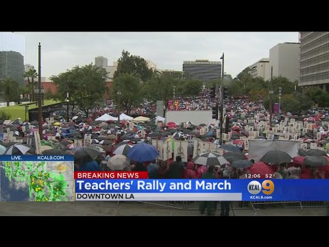 Thousands Rally In Support Of LAUSD Teachers On First Day Of Strike