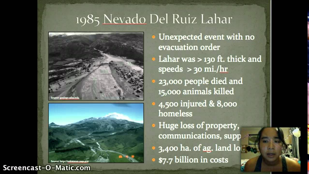 nevado del ruiz case study Conclusions several lessons have been learnt from the nevado del ruiz case study: (1) a moderate-sized vei 2 eruption (10– acknowledgements 20 106 m3 of pyroclastics) can trigger large-volume this is an outcome of the ice and magma interaction (108 m3) lahars on snow-capped composite volcanoes.