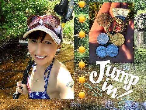 Thumbnail: Metal detecting the old swimming hole! Silver, jewelry, old coins!