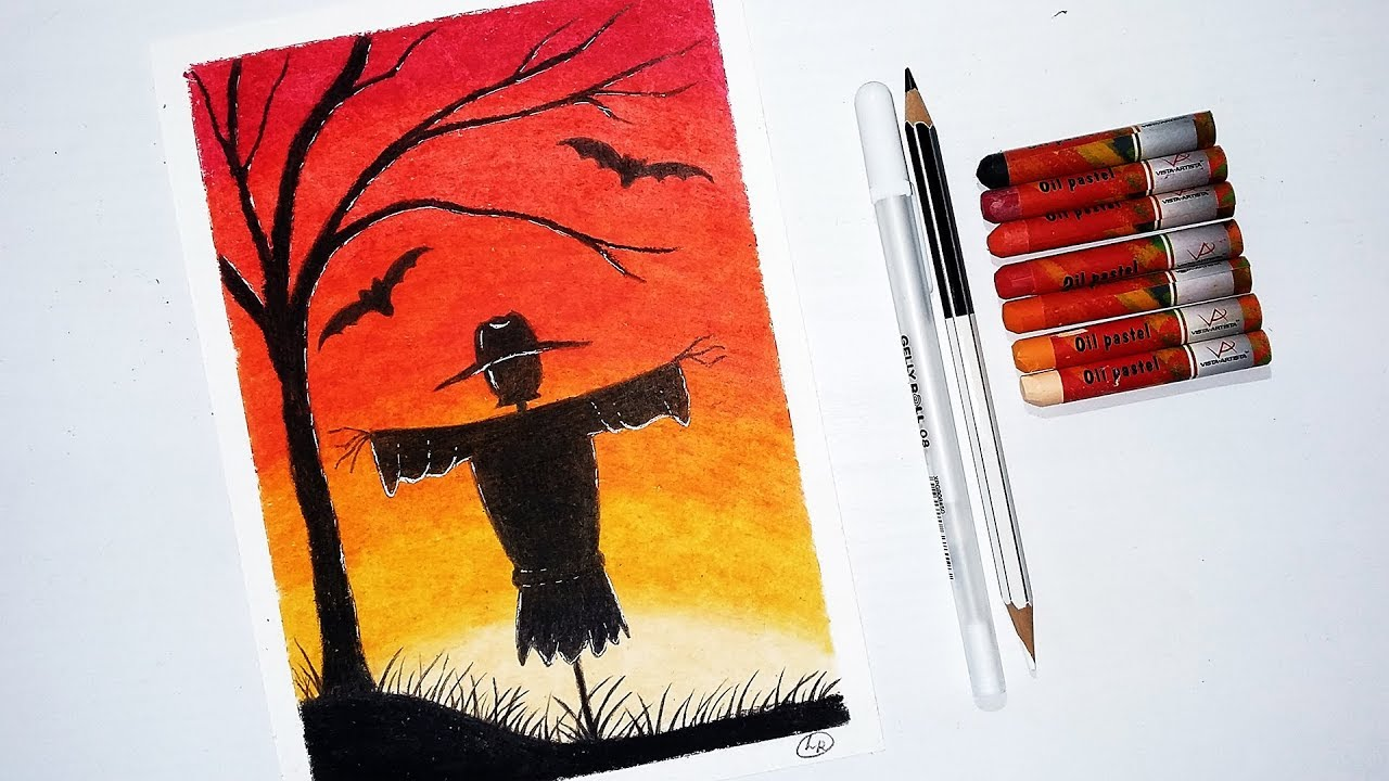 How to Draw Scarecrow - Halloween Drawing with Oil Pastels ...