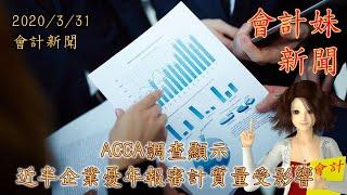 【附近月CPD課程時間表】ACCA調查顯示         近半企業憂年報審計質量受影響 —— 會計妹新聞 Account Girl News,每星期為大家回顧一周會計新聞 2020/3/31