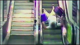 People Falling Down Escalators