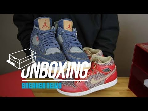 Unboxing: Levi's x Air Jordan 1 vs 4 Comparison. Sneaker News