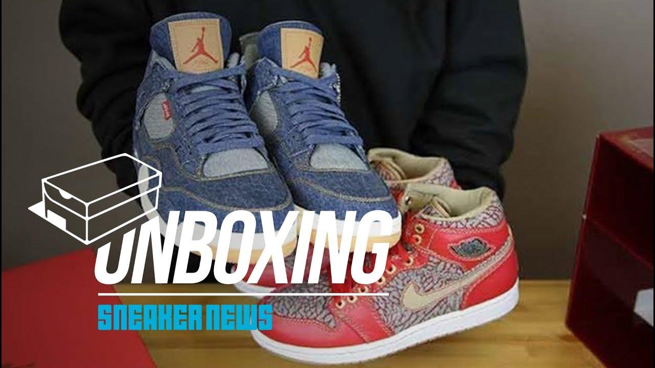 new concept 6ad3e 5e1ab Unboxing: Levi's x Air Jordan 1 vs 4 Comparison