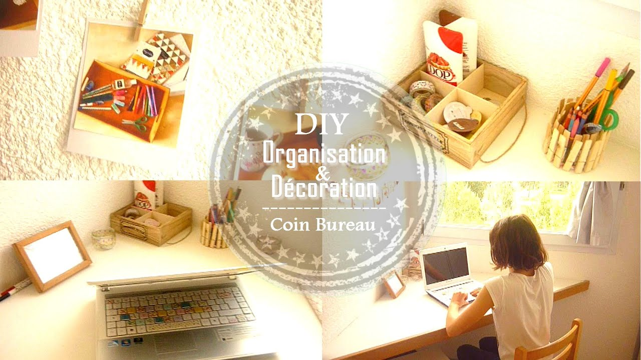 diy organisation d coration du bureau claire youtube. Black Bedroom Furniture Sets. Home Design Ideas