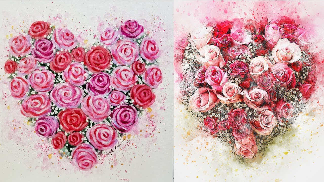 Easy Roses For Beginners Live Acrylic Painting Tutorial