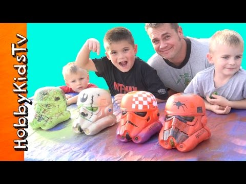 Star Wars Stormtrooper Painting Helmets CONTEST! Vinyl Blank Arts n Crafts HobbyKidsTV