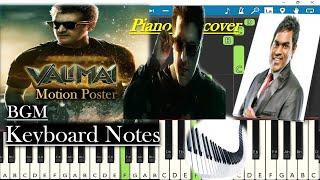 Valimai Motion Poster BGM Keyboard Notes (piano cover) | Thala Ajith | Yuvan Shankar Raja