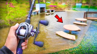 Catching GIANT Bass in FLOODED Lake! (Spring Fishing)