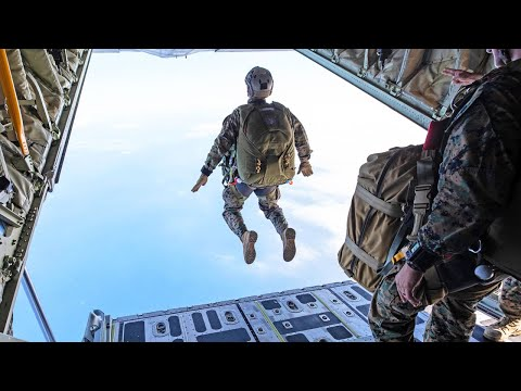 US Marines Paratroopers Jump from KC-130 Hercules and UH-1N Huey