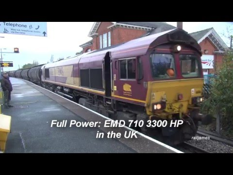 (HD) FULL POWER: UK EMD Class 66 With 710 Engine Powers Out!