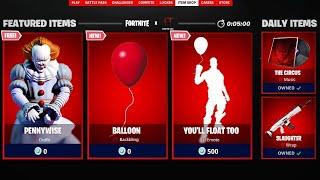 NEW FORTNITE X IT CHAPTER 2 EVENT *NEW* PENNYWISE SKIN! FREE *ITEM SHOP* LIVE SKINS TODAY