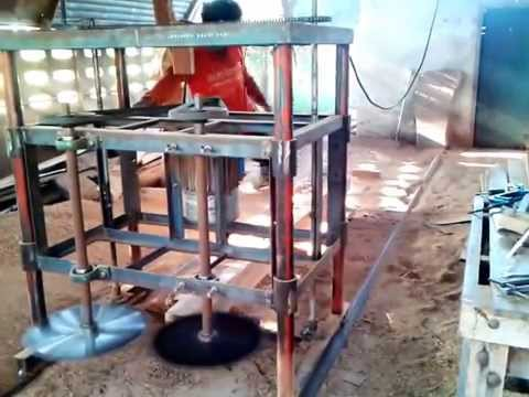 homemade dual blades sawmill - YouTube