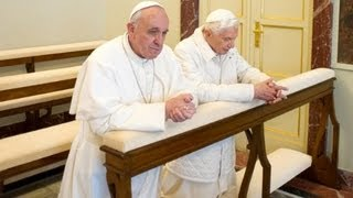 Pope Francis meets with Benedict XVI.