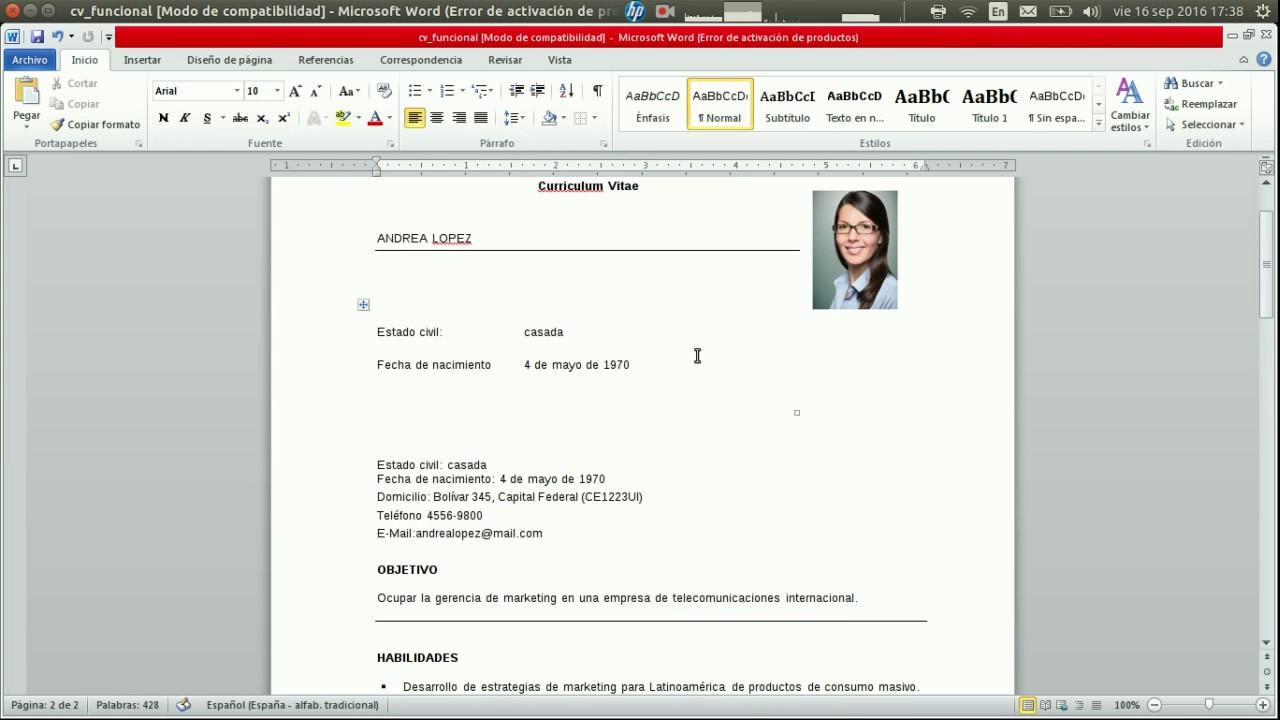curriculum vitae - modelo funcional