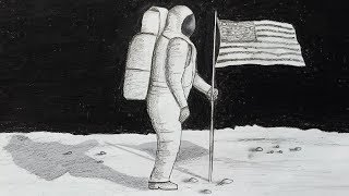 How to draw scenery of space with astronaut step by step